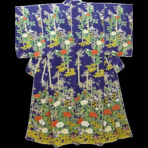Vintage Blue/Purple Silk Floral Houmongi Visiting Dress Kimono c1940.