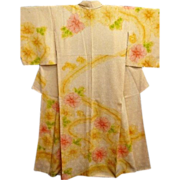 Antique Creamy Yellow Tie Dyed Silk Kimono with Pastel Pink and Yellow Floral Pattern c1910