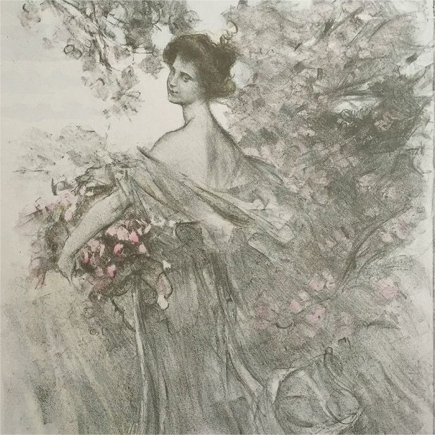 "Original Signed French Lithograph ""Printemps' Limited Edition L'Estampe Moderne 1897"