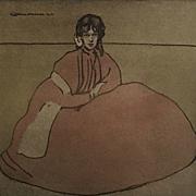 Original Signed Rare French Lithograph 'Jeune Fille Assises' L'Estamp Moderne Limited Edition 1899.