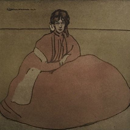Original Signed Rare French Lithograph 'Jeune Fille Assises' L'Estamp Moderne Limited Edition 1899.