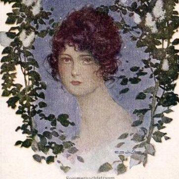 Art Deco Signed German Mid-Summer Nights Dream Postcard