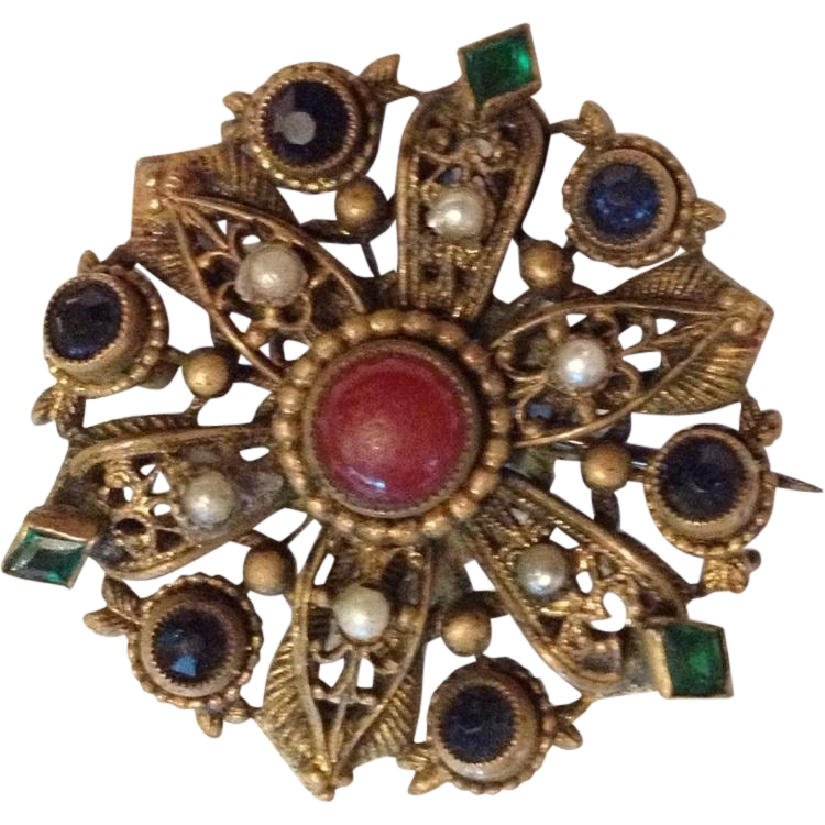 Bohemian Brass Elizabethan Revival Brooch Pin with Carnelian centre and semi-precious stones.