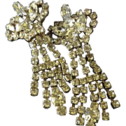 Unique Rhinestone Dangle Art Deco Clip Back Earrings.