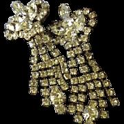 Unique Rhinestone Dangle Art Deco Clip Back Earrings.