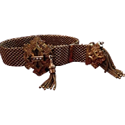 Antique Victorian Gold-Fill Mesh Slide Bracelet with Seed Pearls and Tassels.