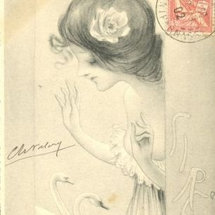 Signed Art Nouveau French Postcard 'Sirene' 1902