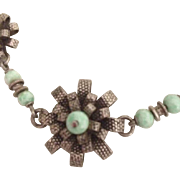 SALE: Art Deco Turquoise 800 Silver and Rhodium Plate Flower Necklace.