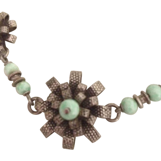 Art Deco Turquoise 800 Silver and Rhodium Plate Flower Necklace.