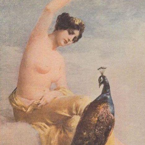 Salon de Paris 'Juno and the Peacock'  French Artist Postcard. c1910