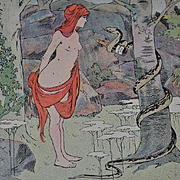 Rare Art Nouveau Champagne Advertising Postcard 'Eve and the Serpent' Signed Postcard