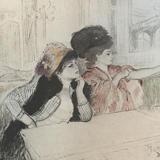 Antique Original Rare Signed Engraving and Aquatint 'Parisian Ladies' c1892