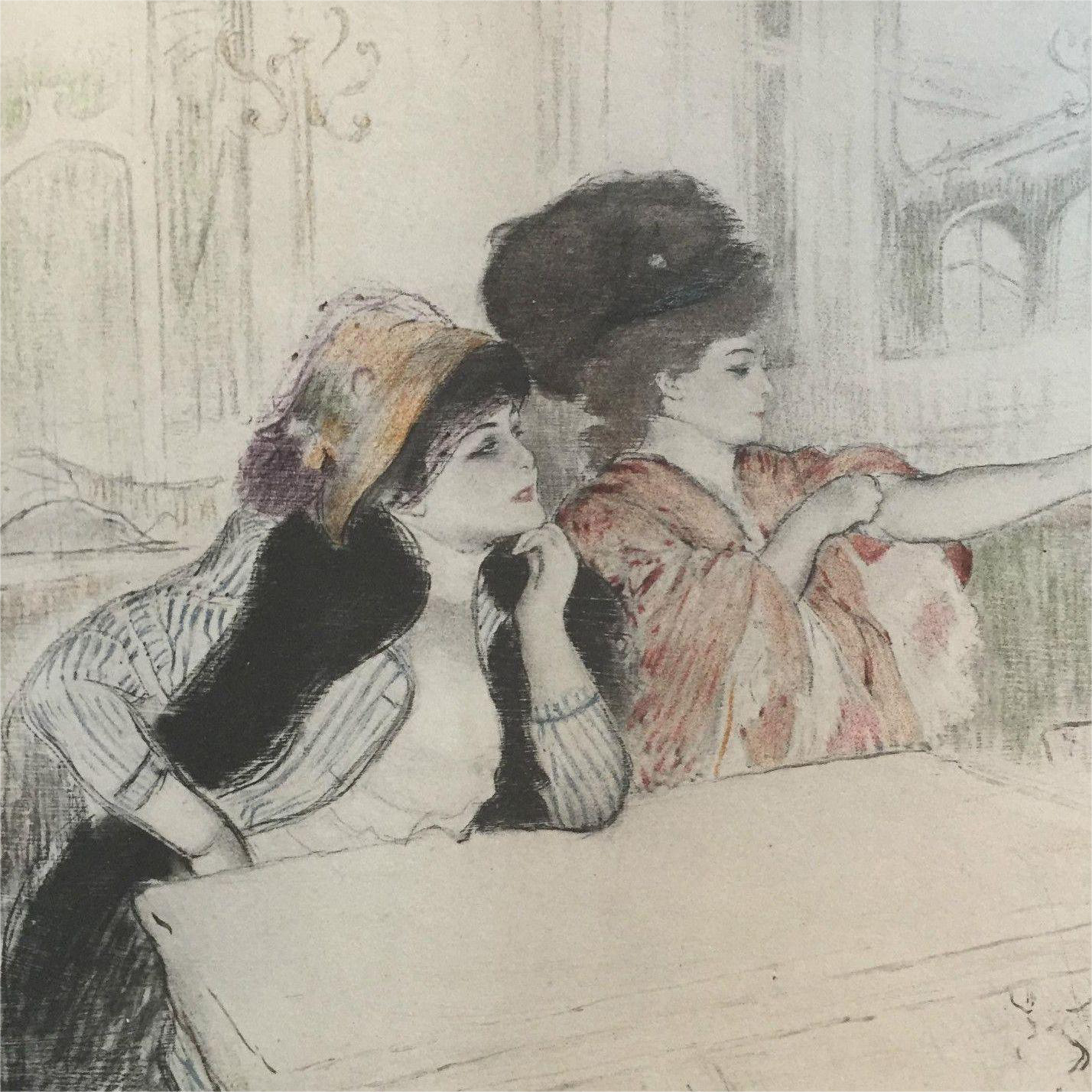 Antique Original Rare Signed Engraving and Aquatint 'Parisian Ladies' c1892