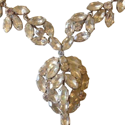 Divine Sparkling White Rhinestone Festoon Necklace c1930.