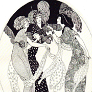 Rare Studio Magazine 'Three Graces' Signed Lithograph 1916.
