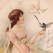 Antique French 'Girl with Birds' Postcard 1905.