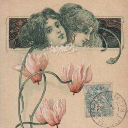 French Art Nouveau 'Language of Love' Gilded Flower Postcard 1905.