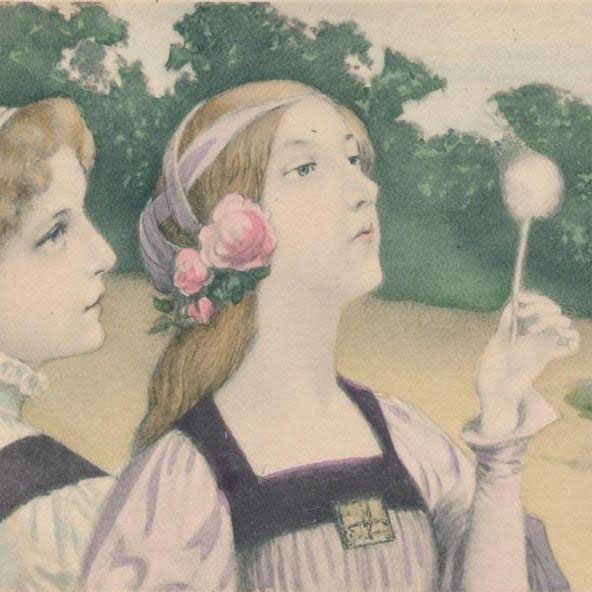 Serene Art Nouveau Vienneoise Postcard 'Two Ladies with a Dandelion Fairy' 1904.