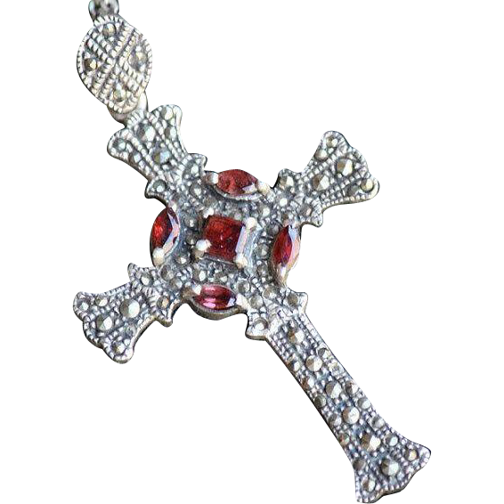Marcasite Garnet and Sterling Silver Gothic Revival Cross Pendant