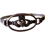 Victorian Irish Gaelic Silver Claddagh Bangle Bracelet.