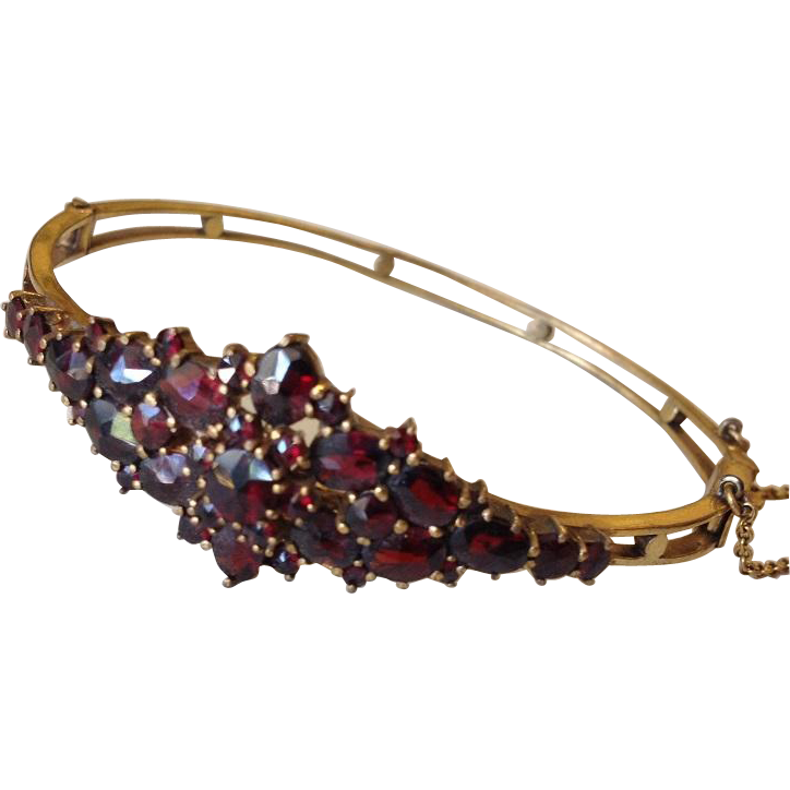 Antique Natural Bohemian Garnet and Gold-wash Bangle Bracelet.