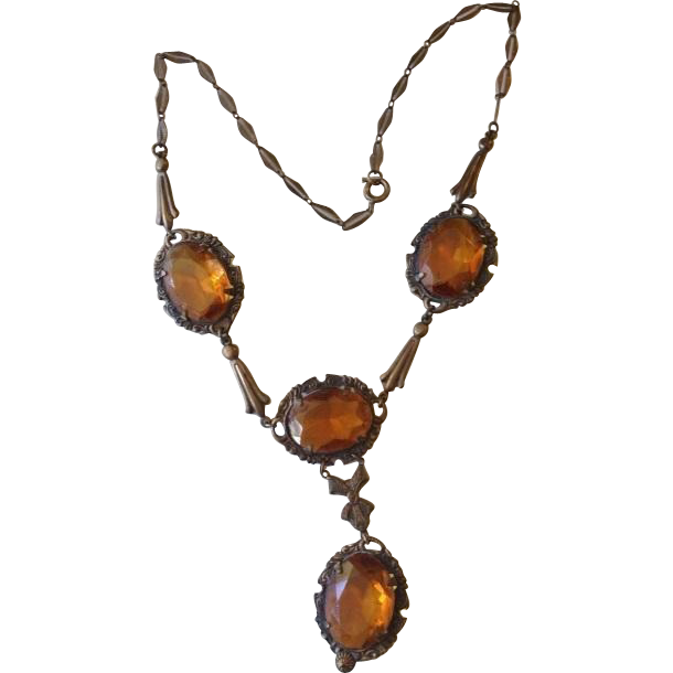 Art Deco Czech Brass and Amber Glass Lavalier Necklace c1920
