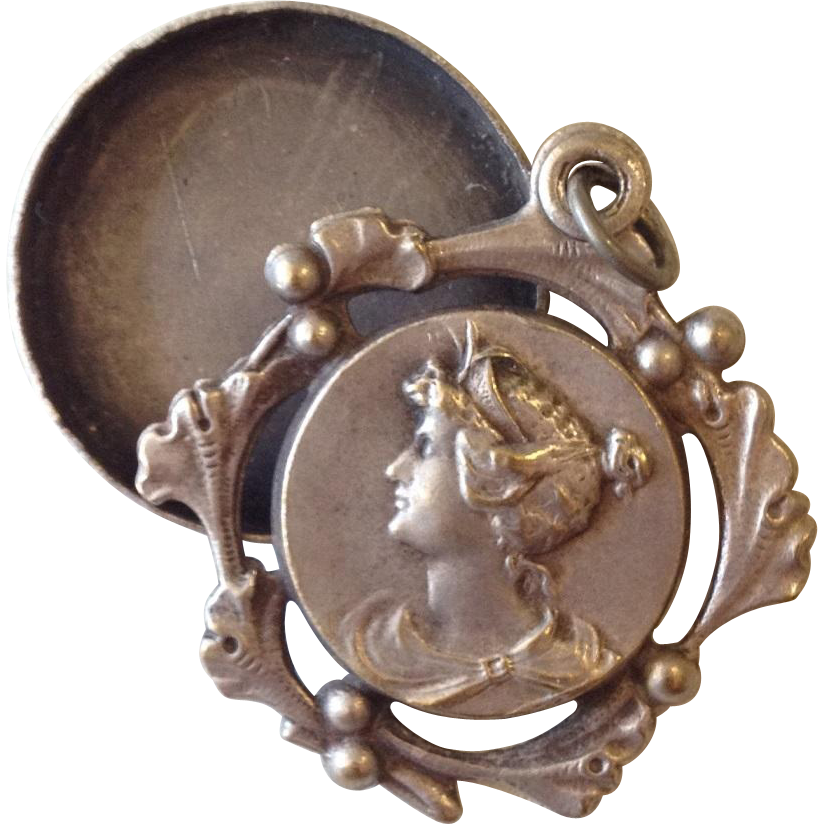Art Nouveau French Repousse Grecian Revival Lady Face Mirror Slide Keeper Pendant with Ginko Frame