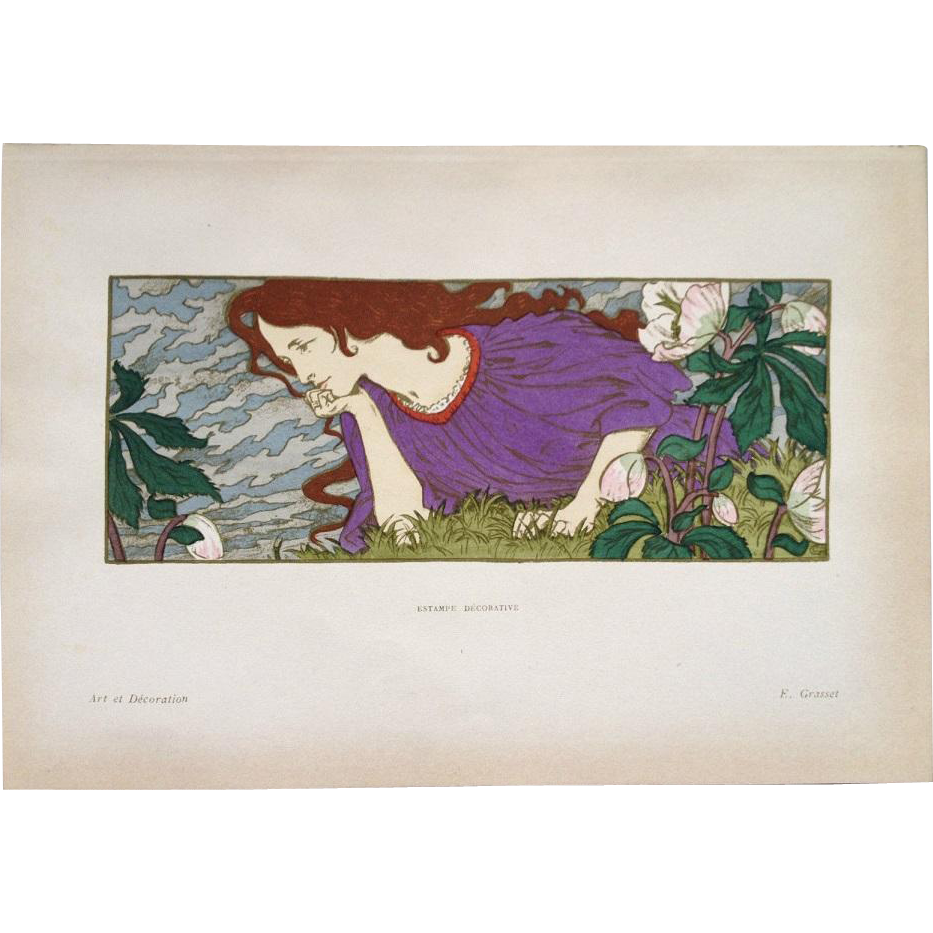 SALE:Rare Original French Stone Lithograph 'Anxiete' from Estampe Decoratif by Eugene Grasset.