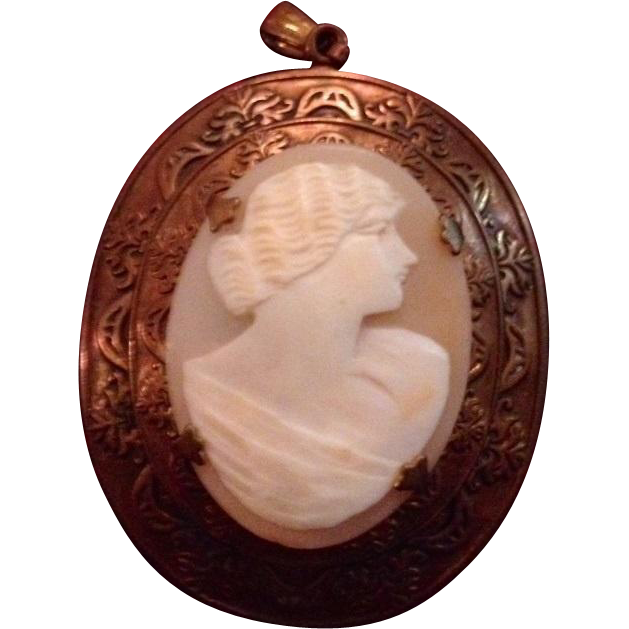 Multi Layered Brass and Shell Cameo Pendant Edwardian era