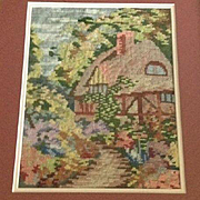 English Wool Satin Stitch Country Cottage Sampler-Style Tapestry. c1914.
