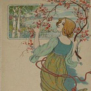Antique German M&B Lithographic 'Girl with Blossom' Postcard c1900
