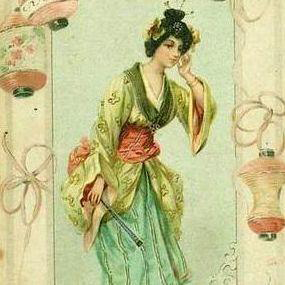Art Nouveau Polish issue Japanese Geisha Lithographic Postcard c1900