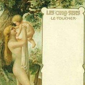 Antique Polish issue 'Les Cinq Sens' Five Senses Postcard c1900.