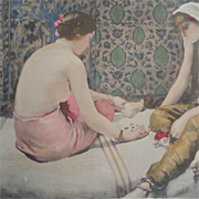ON HOLD for Rebecca:Original French Signed Limited Edition Lithograph 'Joueuses D'Osselets' L'Estampe Moderne series 1898.