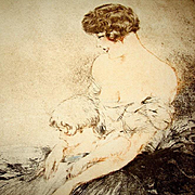 SALE: Original Louis Icart 'Le Jardin Japonaise' L'Illustration Etching and Aqua Tint 1932.