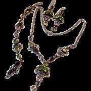 Mult Gemstone Sterling Parure: Necklace Bracelet Earrings: Garnet Amethyst Peridot Citrine. Victorian Revival Style.