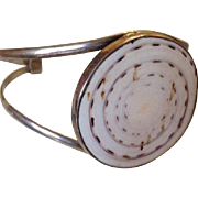 Stunning Vintage Sterling and Cone Shell Cuff Bracelet Bangle and Ring Set Demi-Parure c1980.