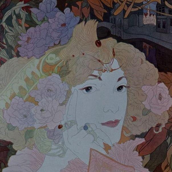 Art Nouveau Original French Typogravure 'Femme Fleurs' from Figaro Illustre 1900.