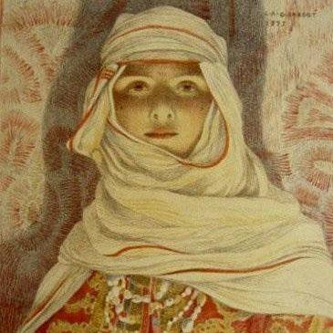 Original Art Nouveau Orientalist French Signed Stone Lithograph 'Femme du Riff' 1897. L'Estampe Moderne.