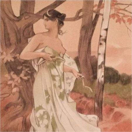 Antique Original French Signed 'Artemis' Lithograph 1898 L'Estampe Moderne series.