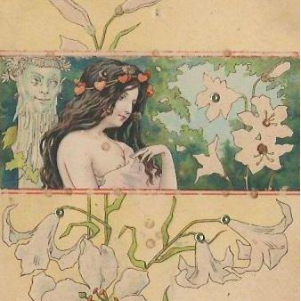 Art Nouveau 'Satyr and Maiden' Lithographic Postcard c1900.