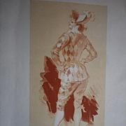 Significant Original French 'Harlequin' Les Maitres de L'Affiche Lithograph by Jules Cheret 1896.