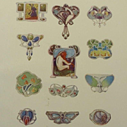 Antique Full Color Engraving 'Art Nouveau Brooch Designs' 1901.