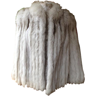 Superb Finland Natural Blue Fox Fur 3/4 Length Jacket