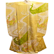 Yellow Silk Satin Japanese Furisode Kimono with Embroidered Peacocks..Mid Century.