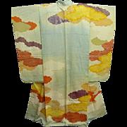 Superb Meiji Era Aqua Silk Furisode Kimono with Painted Clouds and Gold Embroidery c1910.