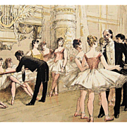 Antique Signed French Magazine Ballet Engraving 'Le Foyer de la Danse' 1885 Rare.