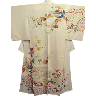 Japanese Silk Kimono with Pink Clouds and Hand Painted Peacocks, Flowers and Gold Details. c1940