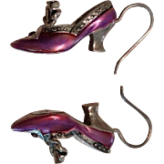 Sterling Silver, Pink Enamel and Garnet 3 Dimensional Shoe Dangle Earrings.
