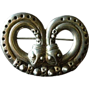 Caduceus  Serpent with Two Heads Brooch.